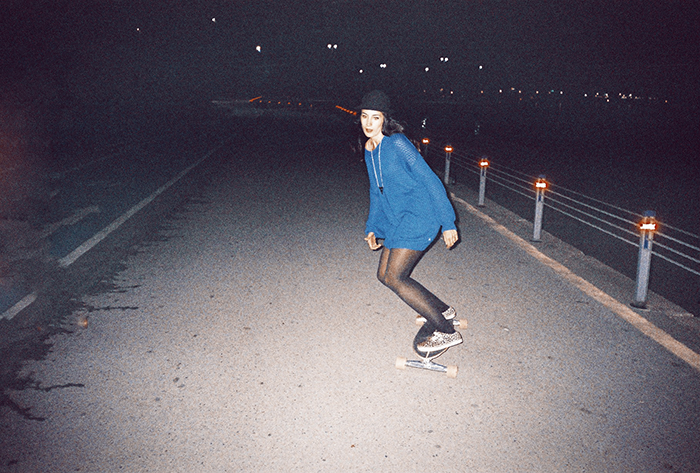 analog photo Longboard skate Girls